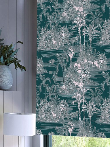 Tropical Toile Teal Daylight Electric Roller Blind by Boon & Blake