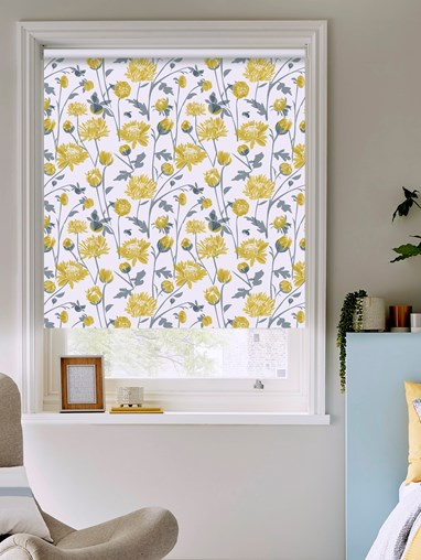 Chrysanthemum Electric Roller Blind by Lorna Syson