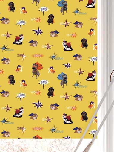 Superhero Pets Electric Roller Blind by Lorna Syson