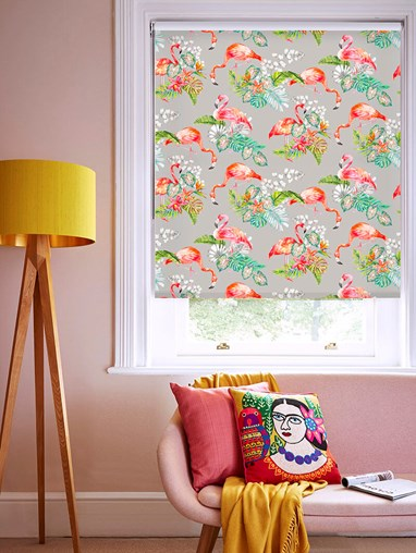 Flamingo Tropics Stone Floral Roller Blind