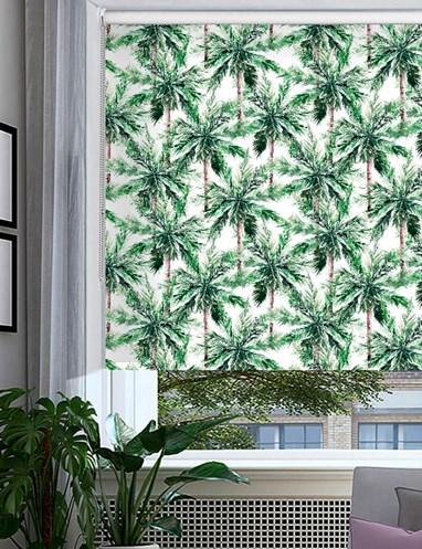 Santa Monica Green Floral Roller Blind