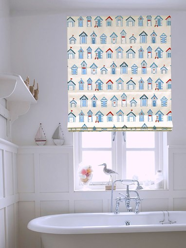 Beach Huts Roman Blind