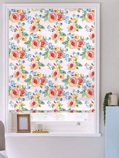 English Rose Floral Roman Blind
