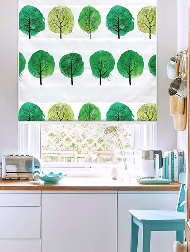 Forest Walks Green Floral Roman Blind