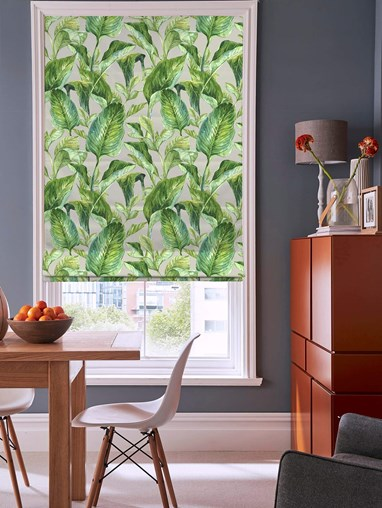 Jungle Leaves Grey Floral Roman blind