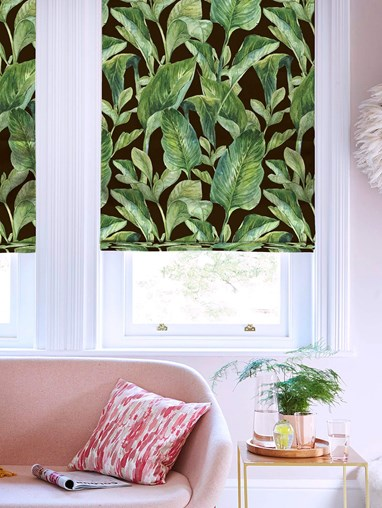Jungle Leaves Night Floral Roman Blind
