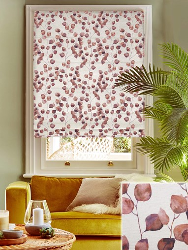 Climbers Earth Linen Electric Roman Blind