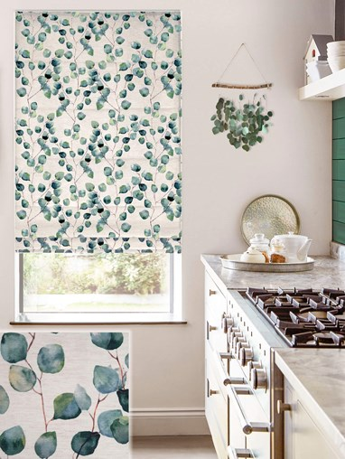 Climbers Forest Linen Electric Roman Blind