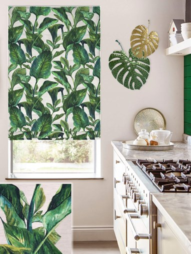 Jungle Leaves Day Linen Electric Roman Blind