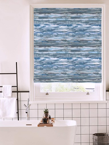 Aquarelle Stripe Denim Roman Blind