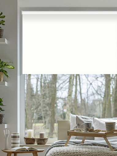 White Blackout Electric Roller Blind
