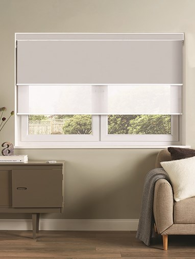 Grey and White Electric Double Roller Blind