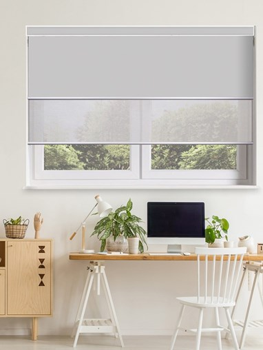 Grey Electric Double Roller Blind