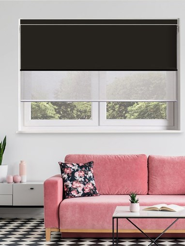 Black and Grey Electric Double Roller Blind