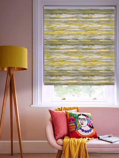 Aquarelle Stripe Mustard Blackout Electric Roller Blind