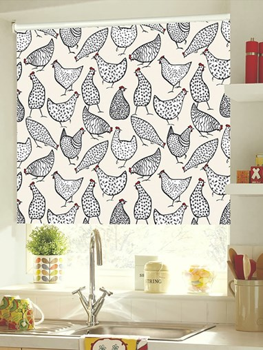 Chickens Cream Patterned Blackout Electric Roller Blind