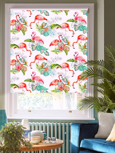 Flamingo Tropics Bright Patterned Blackout Electric Roller Blind