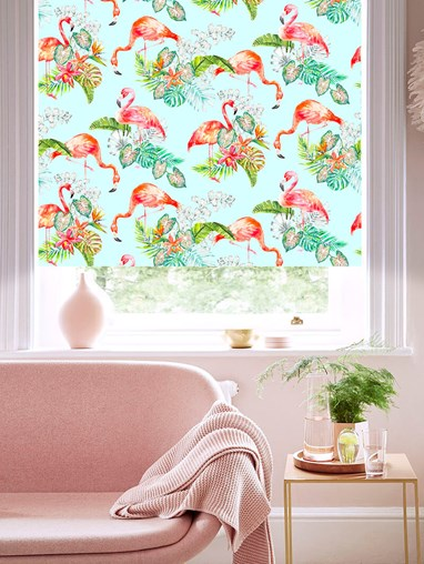 Flamingo Tropics Sky Patterned Blackout Electric Roller Blind