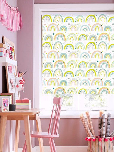 Over The Rainbow Pastel Blackout Electric Roller Blind