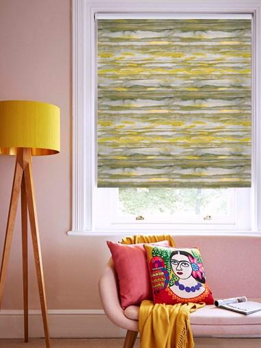 Aquarelle Stripe Mustard Daylight Electric Roller Blind