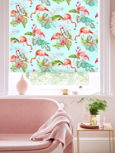 Flamingo Tropics Sky Patterned Daylight Electric Roller Blind