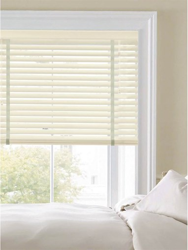 Buttercream 50mm Faux Wood Venetian Blind With Tapes