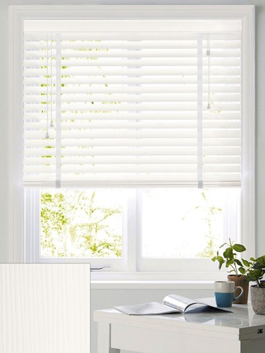 Flat White Woodgrain 50mm Faux Wood Venetian Blind With Tapes