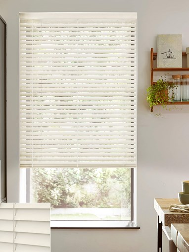 Ivory 50mm Wooden Electric Venetian Blind