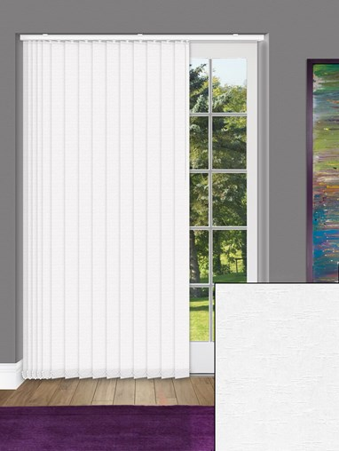 Hopscotch White 89mm Dim-Out Vertical Blind
