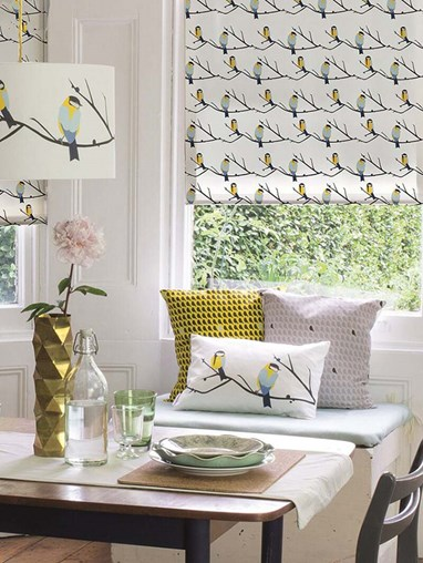 Juneberry and Bird Electric Roller Blind by Lorna Syson