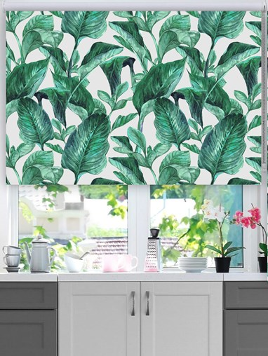 Jungle Leaves Aqua Floral Roller Blind
