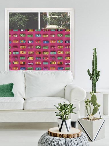 Gridlock Pink By Ella Doran Digital Printed Bottom Up Blind