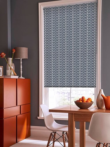 Orla Kiely Linear Stem Cool Grey Soft Fabric Roller Blind