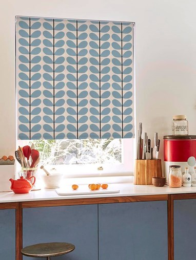 Orla Kiely Two Colour Stem Powder Blue Soft Fabric Roller Blind