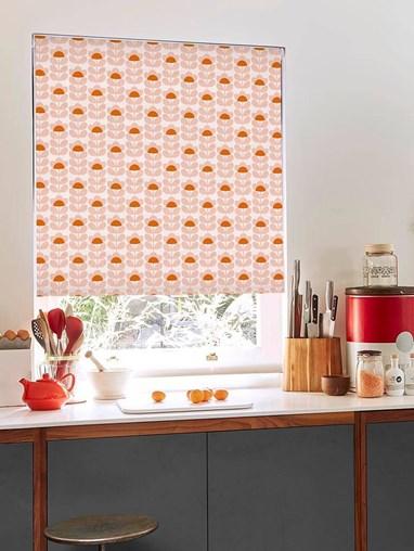 Orla Kiely Sweet Pea Orange Electric Roller Blind