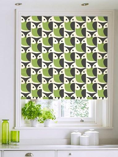Orla Kiely Linear Owl Chalky Green Electric Roman Blind