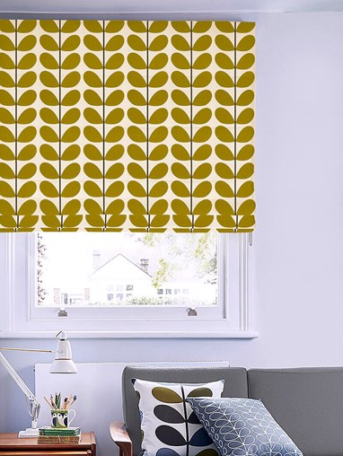 Orla Kiely Two Colour Stem Olive Roman Blind