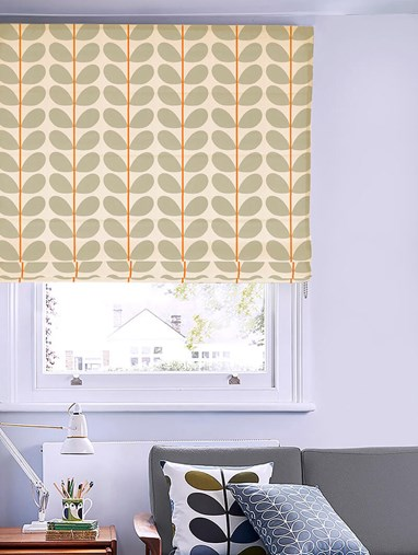 Orla Kiely Two Colour Stem Warm Grey Roman Blind
