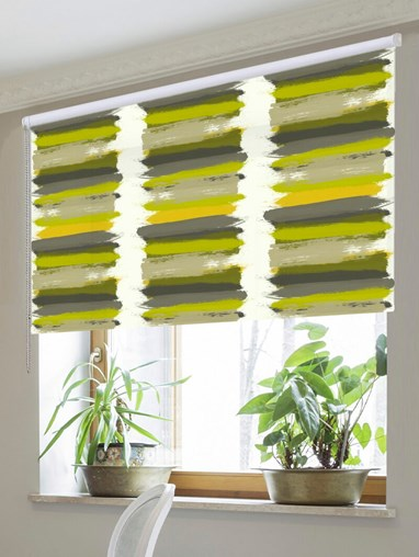 Painterly Stripe Chartreuse Roller Blind