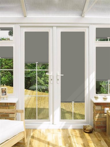 Blackout Gravel Perfect Fit Roller Blind for Doors