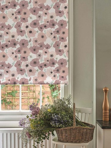 Posy Blush Electric Roller Blind by Lorna Syson
