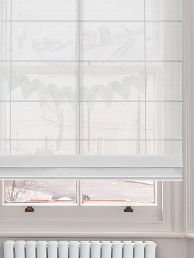 White Electric Sheer Roman Blind