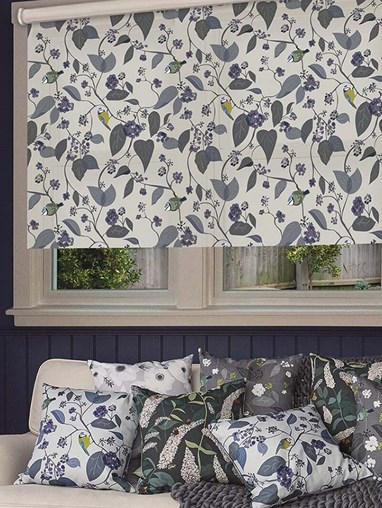 Spring Ivy Blue Electric Roller Blind by Lorna Syson