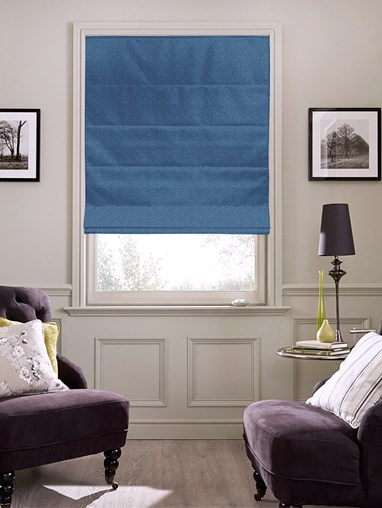 Tribeca Ink Blue Blackout Electric Roman Blind