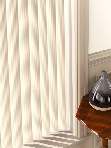 Ridged Cream Rigid PVC 89mm Vertical Blind