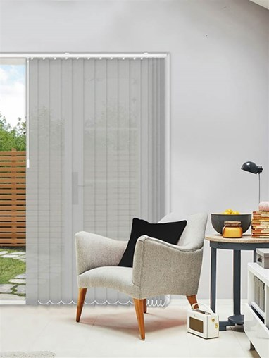 Horizon Pale Stone 89mm Sunscreen Vertical Blind