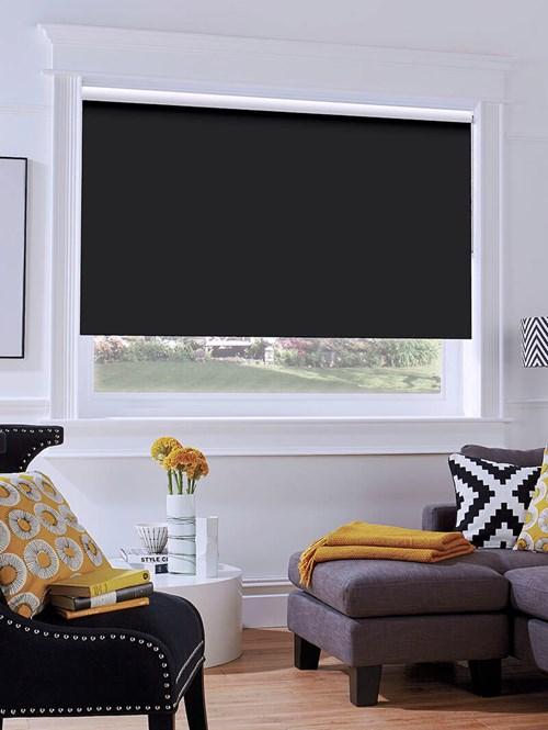 Black Blackout Thermal Express Roller Blind