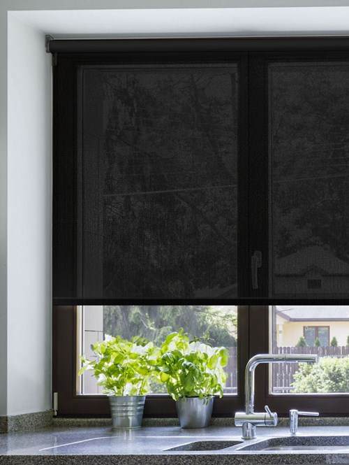 Black Smoke 3% Sunscreen Electric Roller Blind
