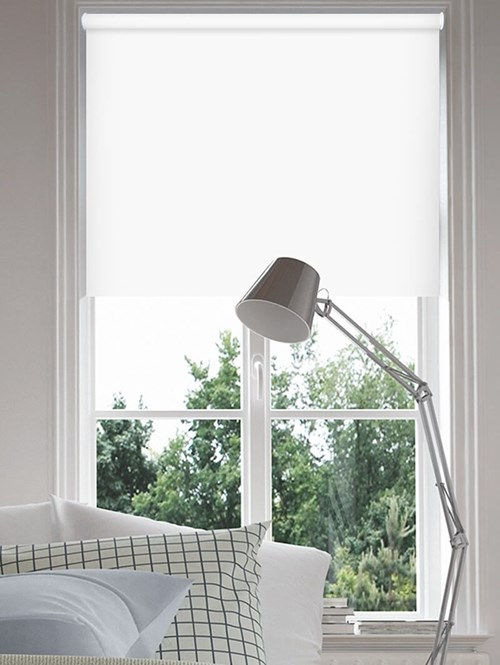 Bright White Blackout Electric Roller Blind