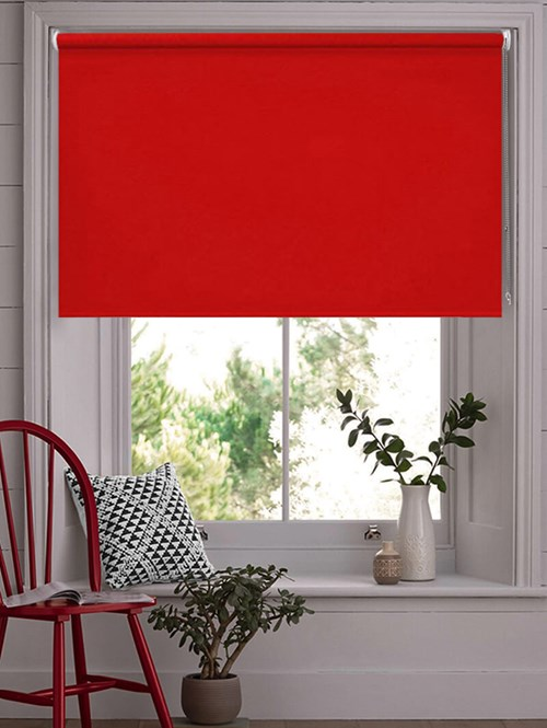 Crimson Blackout Thermal Roller Blind